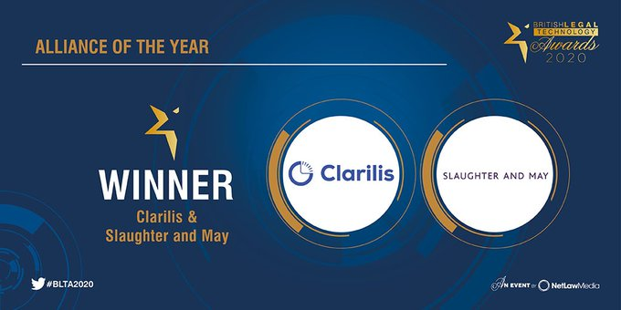 Clarilis and Slaughter and May win 'Alliance of the Year' Award at the British Legal Technology Awards
